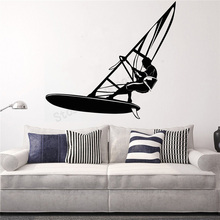 все цены на Wall Art Sticker Beach Sports Decoration Removeable Poster Water Cool Windsurfing Extreme Sports Excited Mural LY431 онлайн