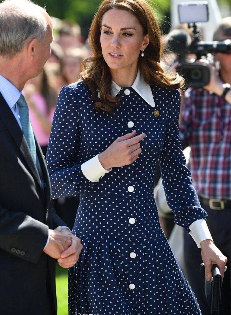 Nouvelle robe longue Kate Middleton à pois imprimé élégant col rabattu manches longues robes plissées