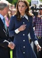 new Kate Middleton Polka Dot print long dress elegant Turn down Collar long sleeve pleated dresses