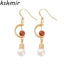 2018 South Korea fashion temperament elegant joker pearl earring fine earrings Golden wheel