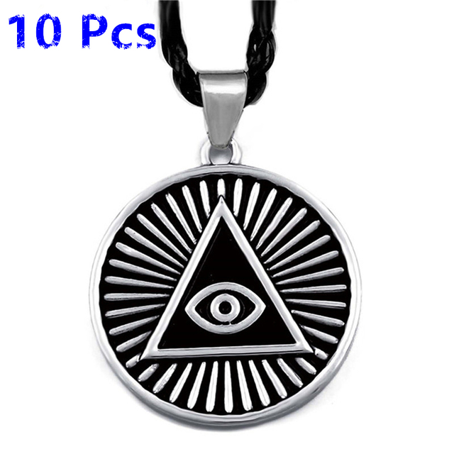 Wholesale 10 Pcs Mens Pewter Pendant Necklace Illuminati The All