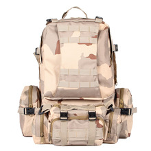 50L Large Capacity Tactical Military Outdoor Rucksacks Backpack Trekking Hiking Bag Three sand camouflage