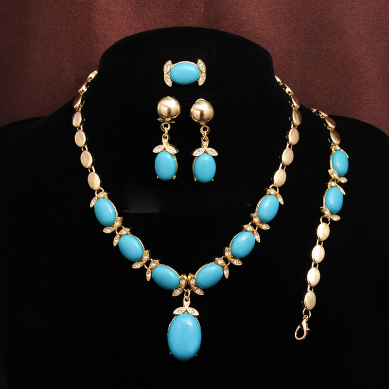 Bohemian Simulated-Stone African Jewelry Sets for Women Wedding Necklace Earrings Bracelet Ring 4pcs Indian Jewelry Sets Gift