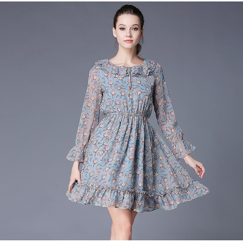 2017Autumn Women Plus Size Floral chiffon Dress ruffled collar pinched waist Elegant one-piece Dress casual vestidos XXXXXL 7073