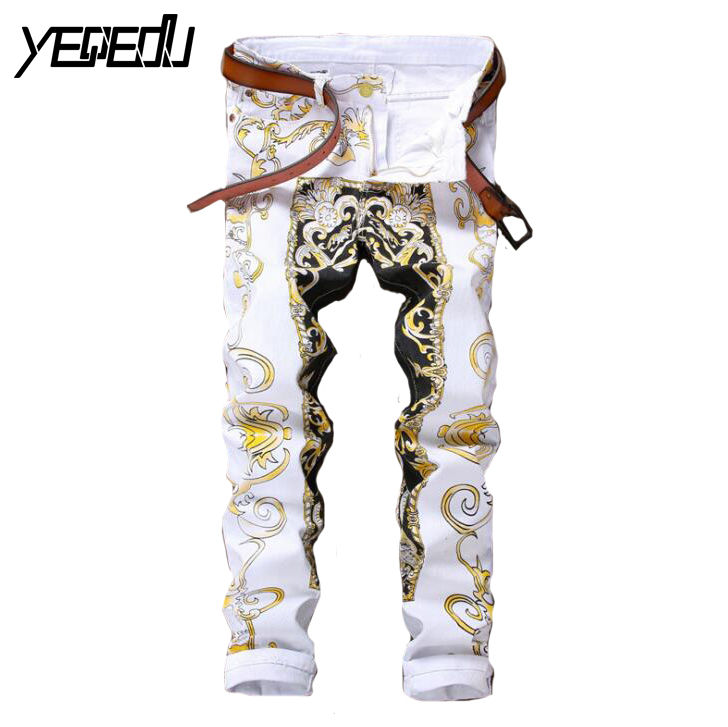 ФОТО #2770 2017 Casual white jeans Mens printed jeans Korean homme Mens skinny jeans Slim fit Famous brand Hip hop jeans