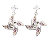 Windmill Multi Color MultiGem 2 2mm Semi Precious Silver Cool For Womens Stud Earrings ED0407
