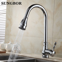 New 360 rotating Kitchen Faucet Mixer Tap black /brushed nickel/chrome single hand kitchen tap mixer brass CF 9112L