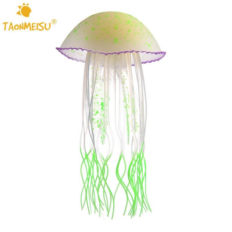 1pcs Noctilucous Glowing Effect Aquarium Decoration Artificial Jellyfish Fish Tank Ornament Decor Mini Submarine Multi Colors