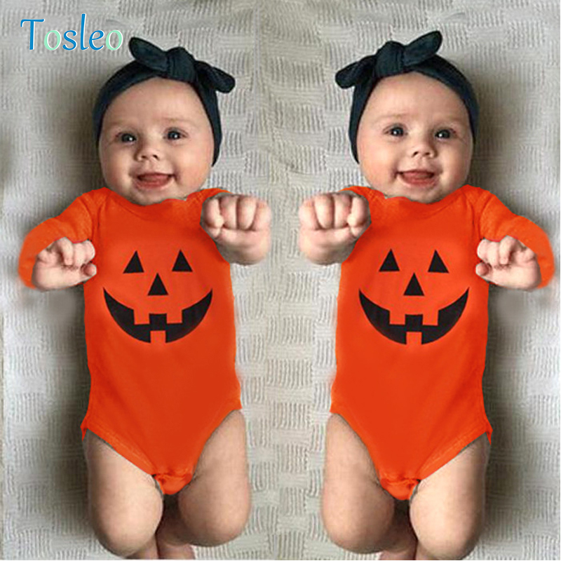 2018 Baby Bodysuit for Halloween Pumpkin Printed Children Costumes New Born Ontie Toddler Clothes Orange