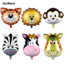 OurWarm 6Pcs 22inch Safari Animals Balloons Air Helium Foil Balloon Jungle Themed Birthday Party Baby Shower Decorations
