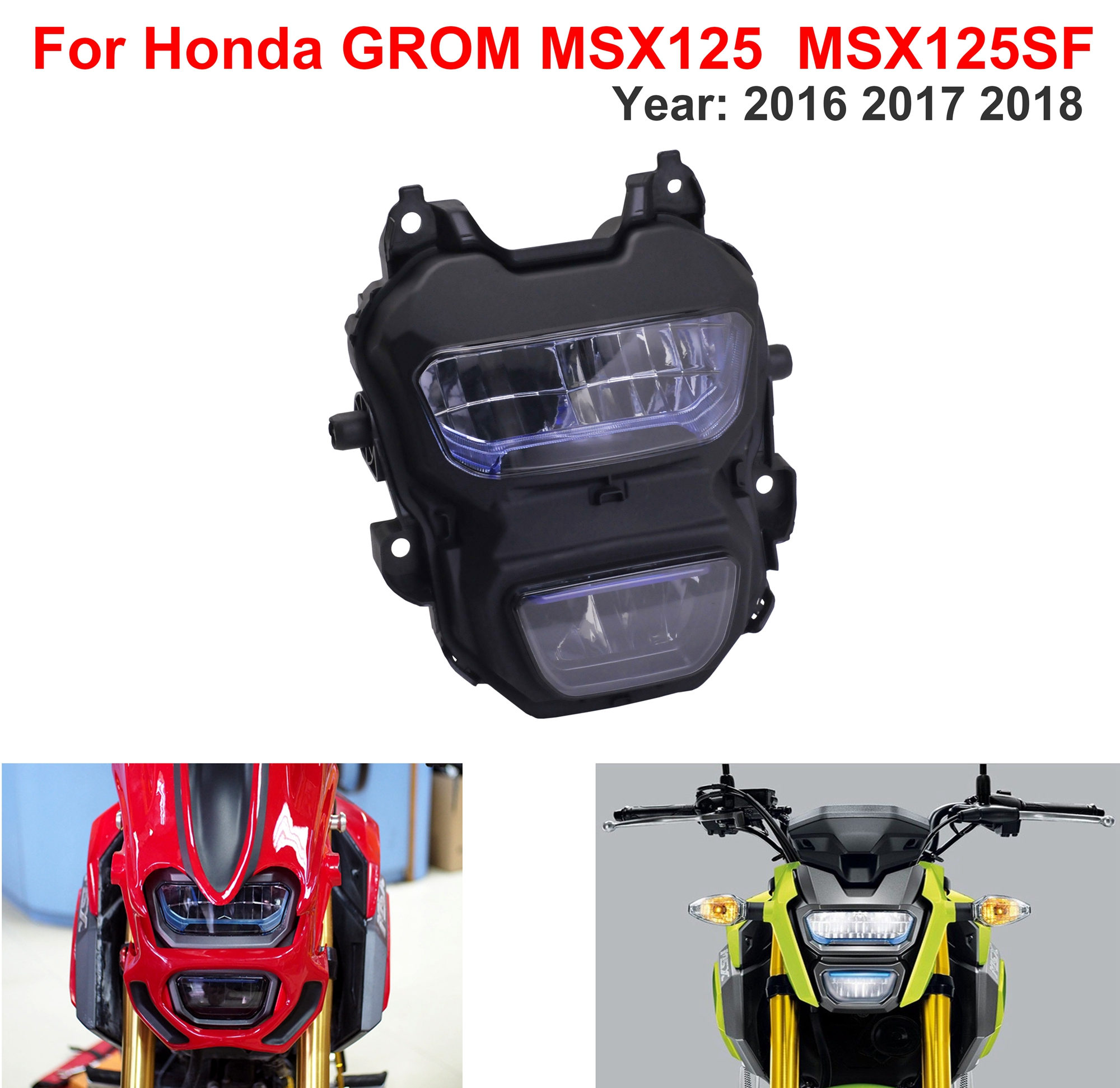 Motorcycle 125 Headlight  Monkey Windshield Front  Wind Guard Lamp LED For Honda GROM MSX125SF 2016 2017 MSX125 2018 M3 M5
