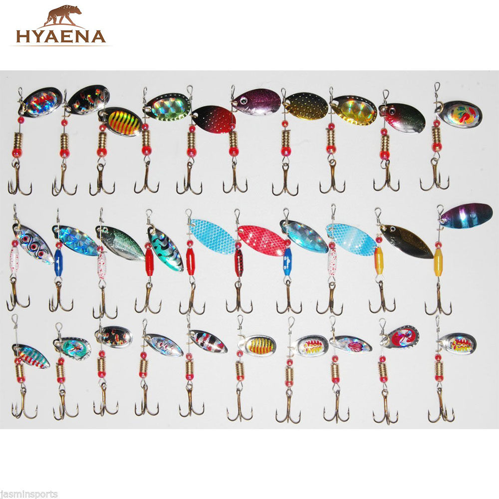 Hyaena 30pcs/lot Mixed Color/Size/Weight Spinner Metal Spoon Fishing Lure Kits Hard Artificial Lures Spinnerbaits CrankBait 50pcs lot mixed color