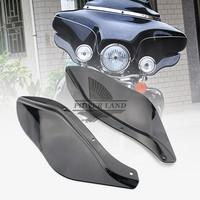 Black Plastic Side Wing Windshield Windscreens Wind Deflectors Air Fits For Harley Davidson Touring FLHR FLHT