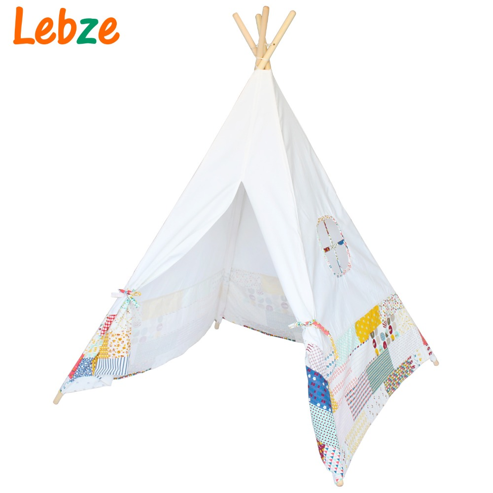Four Poles Indian Play Tent Patchwork Children Teepees