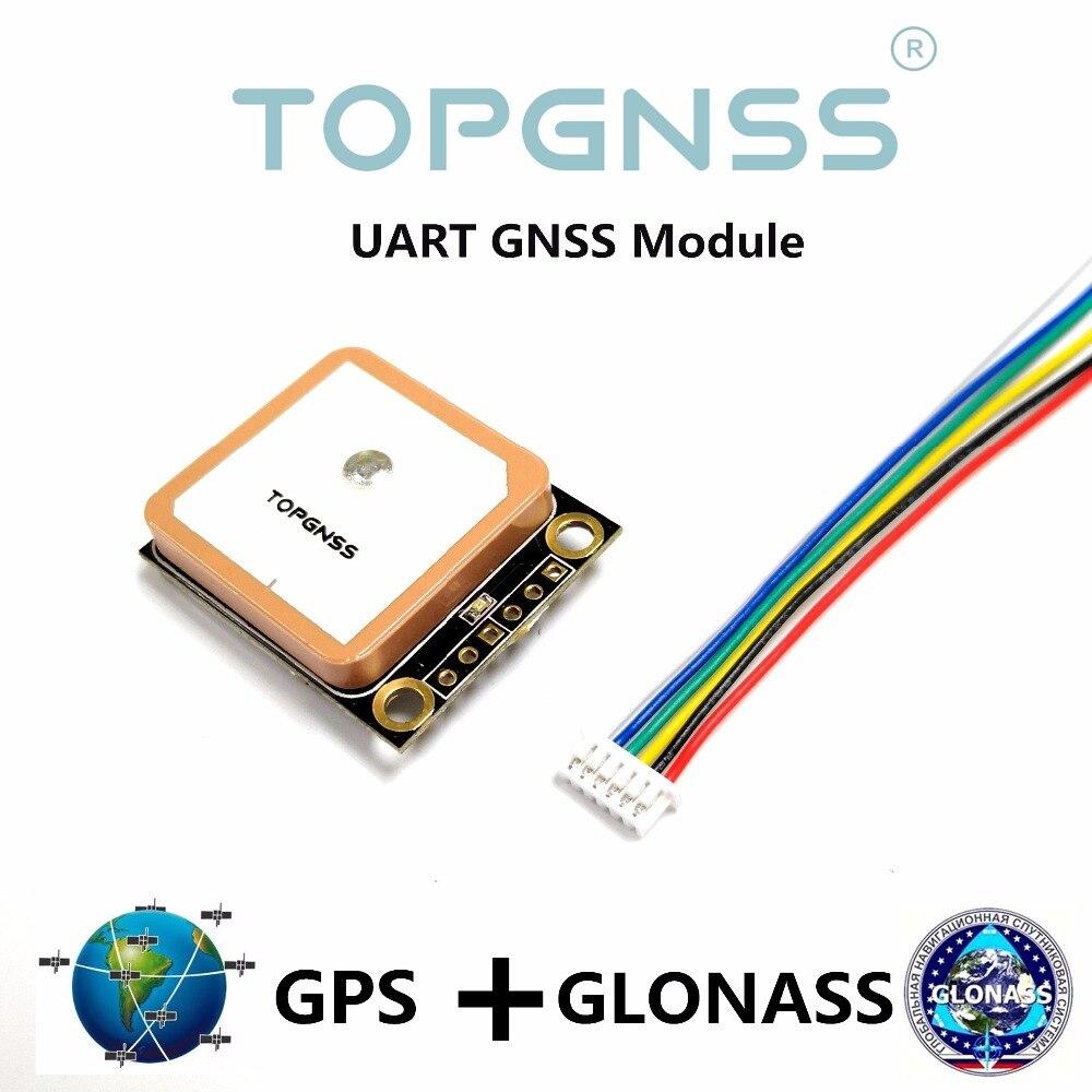 Alta calidad UART Salida Modo Dual GPS GLONASS baudios, m8n GPS GNSS chip diseño TOPGNSS módulo GNSS antena,