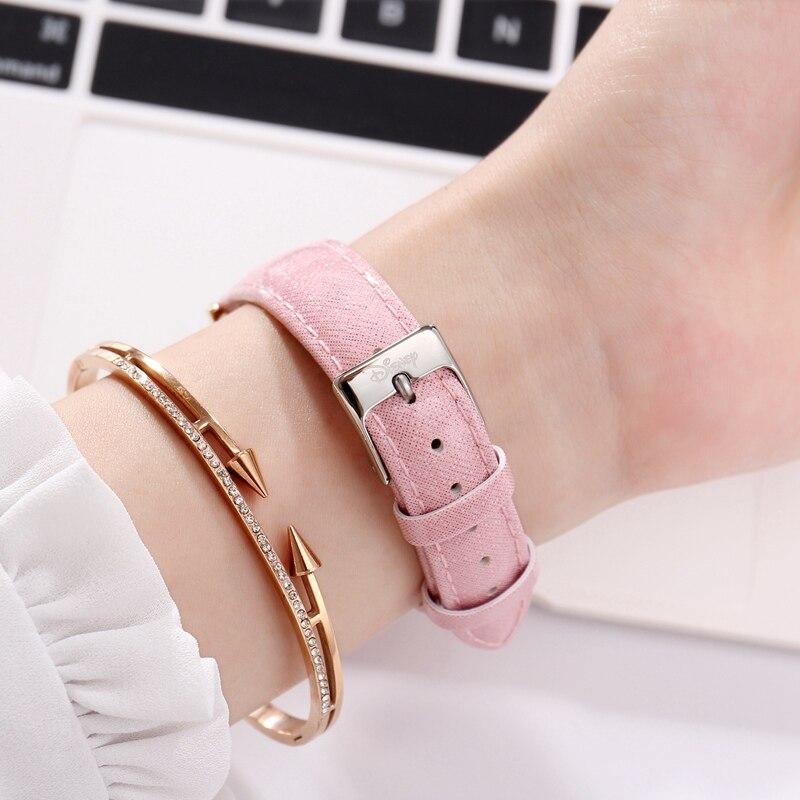 Genuine Disney Women Mickey Mouse Round Simple Fashion Popular High Quality Luxury Needle Leather Strap Watches Montre Feminino