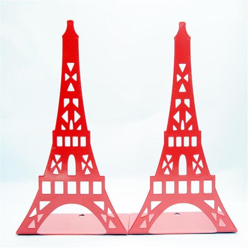 2 Pcs/lot Fashion Eiffel Tower Metal Bookshelf Large Book Stand Document Holder Base For Books Organizer Gift Stationery School