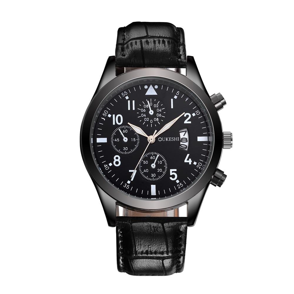 2019 mode Sport herren Uhr Top Marke Luxus Edelstahl Leder Quarzuhr Casual Business Boutique Schwarz Uhr Uhr