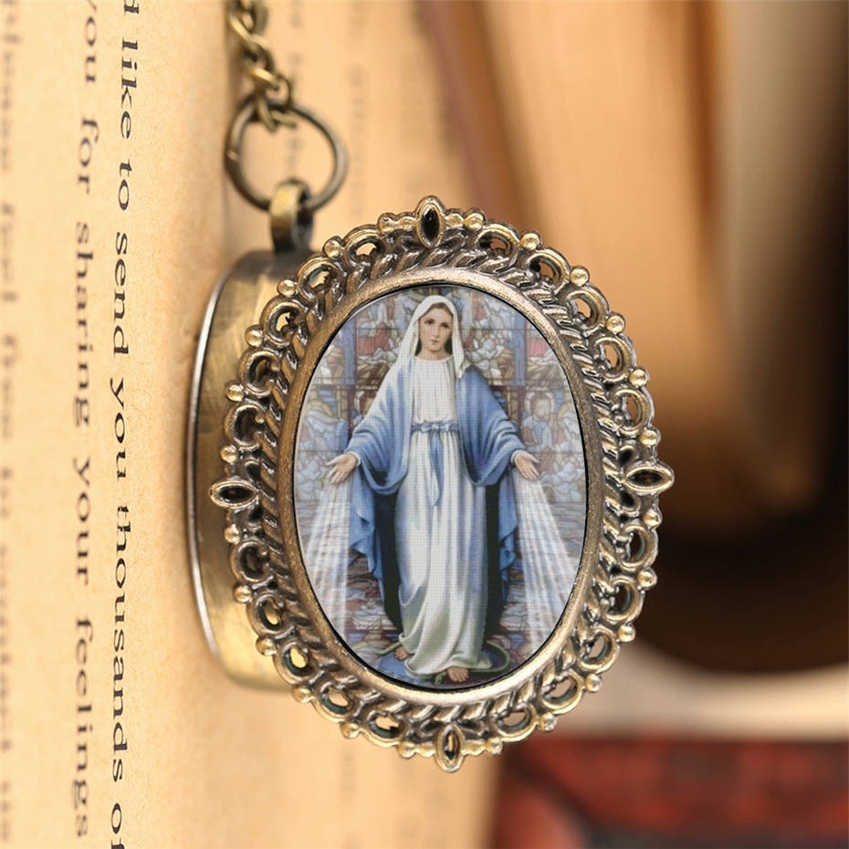 Retro Souvenir Quartz Pocket Watch Catholic Blessed Virgin Mary Exquisite Fob Pocket  Clock For Men Women With 80cm Chain Reloj