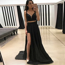 Bbonlinedress Two-Piece Prom Dress 2019 Hot Sale Evening Black Color Straps Gowns Split Formal Party Dresses Robes
