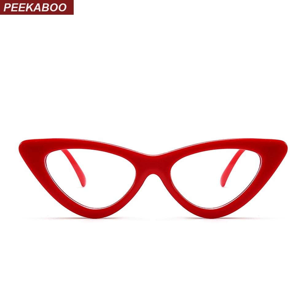 239129e46e Peekaboo Sexy red cat eye glasses frames for women 2018 retro white black  small cheap eyewear