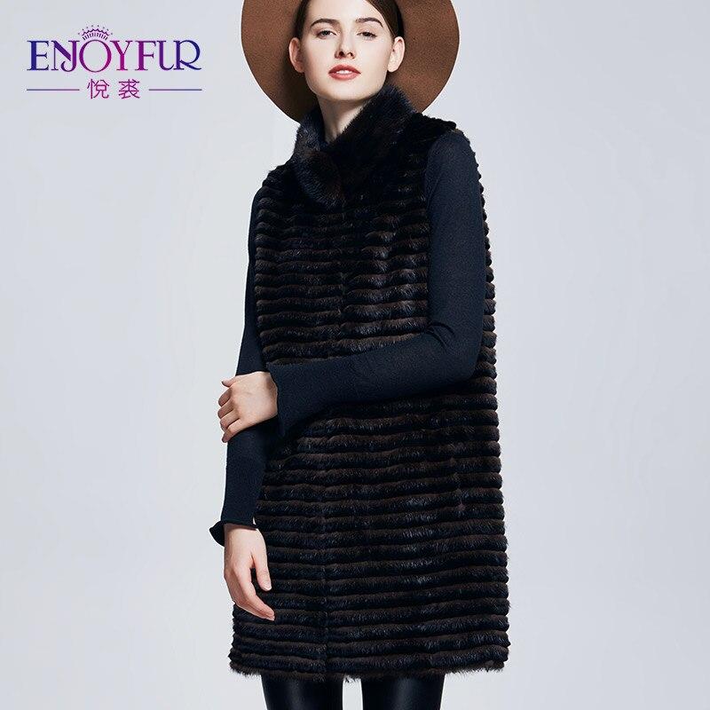 Manteaux Enjoyfur Femmes L'hiver Veste D612014 Gilet Femelle Lapin Fourrure Véritable Réel Pour Vison Rex Mode De 1nqSU1Aw