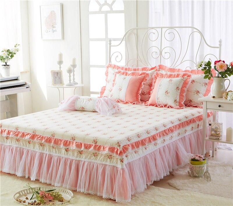 3Pcs/set Luxury Princess Cotton Lace Bedspread King/Queen/twin size Girls Bed skirt Bedsheet Pillowcase women bedding