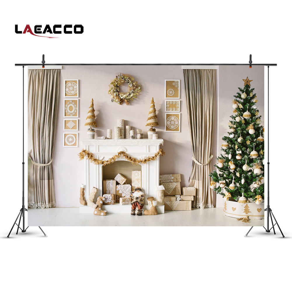 Laeacco Christmas Tree Fireplace Wreath Curtain Decor Wall Photography Backgrounds Vinyl Custom Camera Backdrop For Photo Studio shanny autumn backdrop vinyl photography backdrop prop custom studio backgrounds njy33