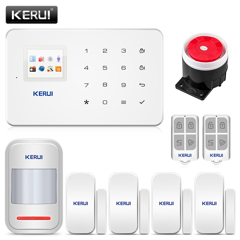 KERUI 1.7 Inch TFT Screen GSM Home Burglar Security Alarm Protection APP Control Built In Siren With Door Sensor Alarm