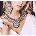 2016 New Vintage Necklace Set With Earrings Crystal Exaggerated Big Brand Luxury Charm Statement Necklace & Pendant Jewelry Sets