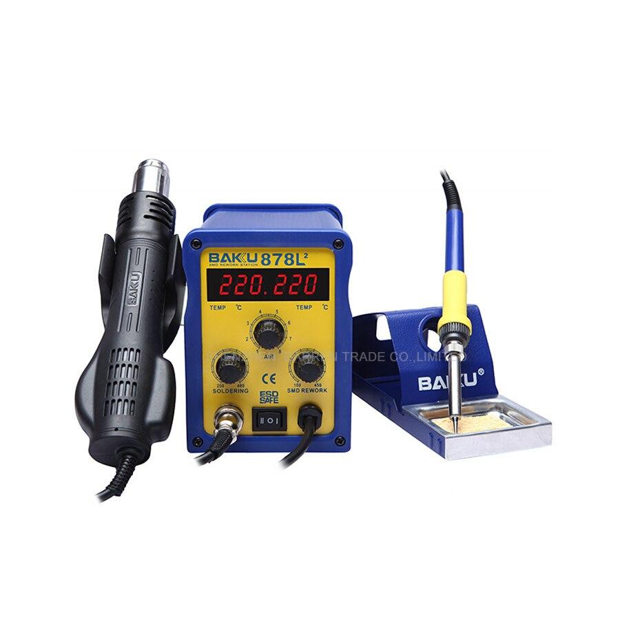 BAKU 878L2 Wind Hot Air Soldering Station 110/220V with Heat Gun and english Manual LED Digital Display 1pc