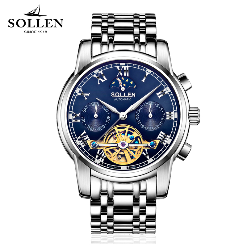 Luxury Brand SOLLEN Mechanical Watch Multi-functional Mens Watches Tourbillon Stainless Steel Wristwatch Reloj Hombre Top Clock automatic mechanical mens watches luxury tourbillon clock top brand gold men wristwatch stainless steel watch band reloj hombre