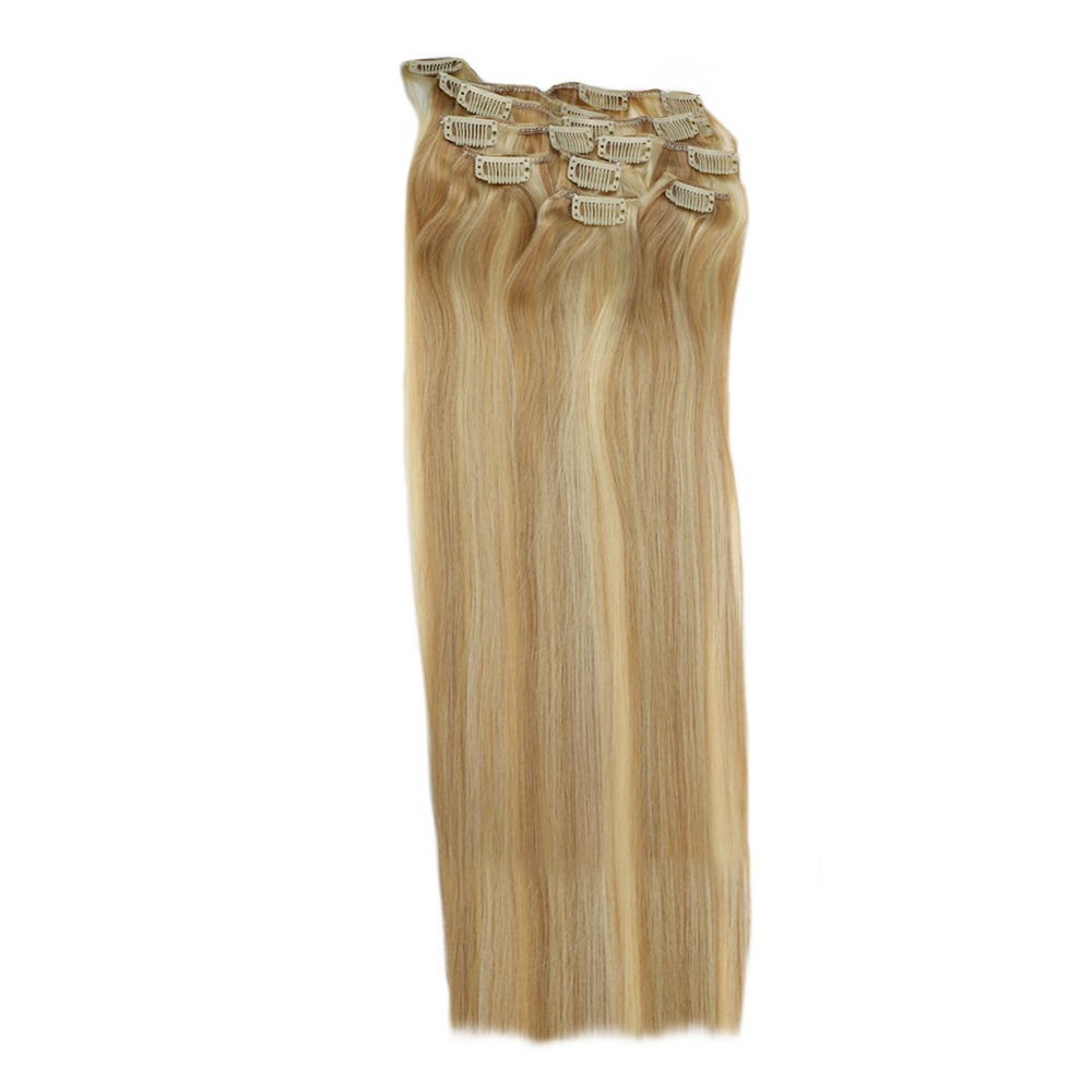 Full Shine 7Pcs 100g  Clip in Extensions Piano Color #24 fading To #27 100% Remy Comfortable Human Hair Double Wefted  Hair(China)