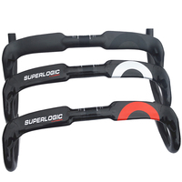 Superlogic carbono cheio guiador bent bar guidão de bicicleta de estrada de fibra de carbono ud gloss finish 40/42/44 cm roteamento de cabo interno
