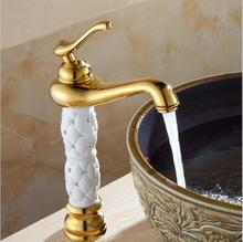High Quality Crystal and Brass Bathroom Basin Faucet Brass Basin Mixer Tap Golden Polished Faucets Single Handle water tap