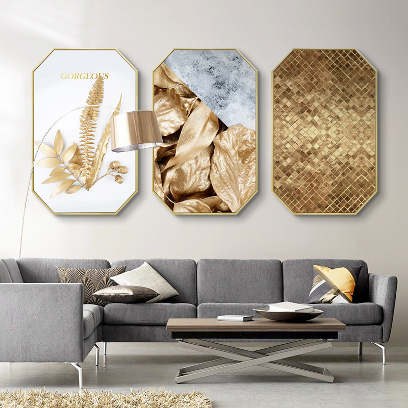 Golden modern minimalist luxury creative Octagonal decorative painting Restaurant golden leaves wall hangings mural with frame