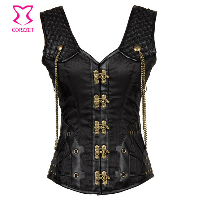 e6300964e67 Black Satin and Leather Vest Steel Gothic Corset Plus Size Korsett For Women  Halloween Corsets and Bustiers Steampunk Clothing