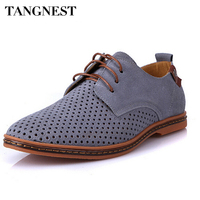 Men Oxfords Shoes 2015 Spring Summer Breatheable Suede PU Leather Shoes British Man Solid Cut Outs