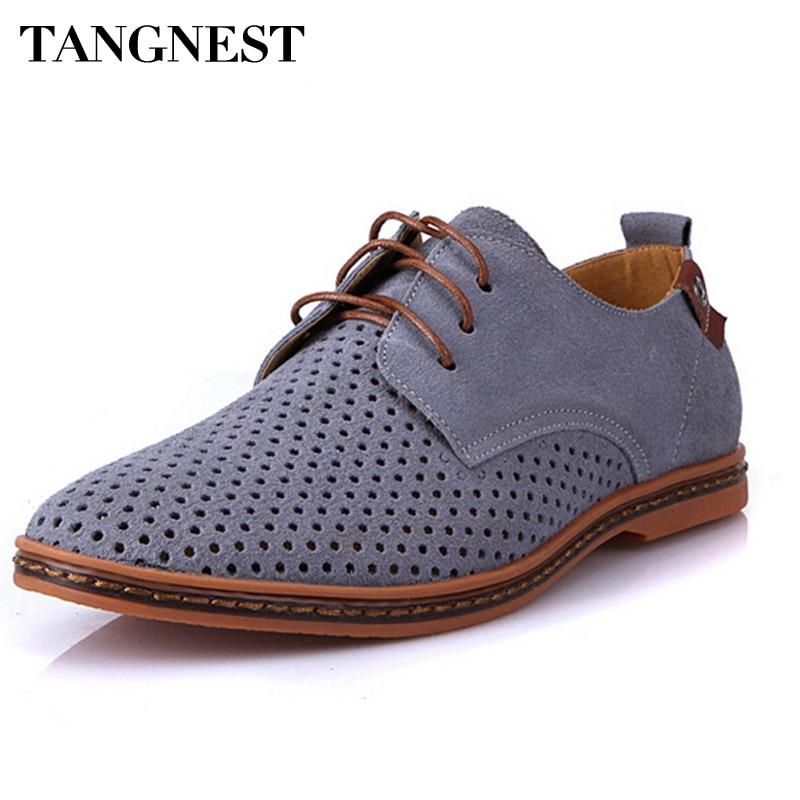 Tangnest Men Oxfords Shoes Man 2018 Summer Breathable Suede Leather Shoes British Man Cut Outs Dress Shoes Big Size 38-47 XMP179