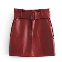 European and American Spring and Autumn Pu Half length Skirt Fashionable Personality Band High waist PU Leather Skirt Women's L