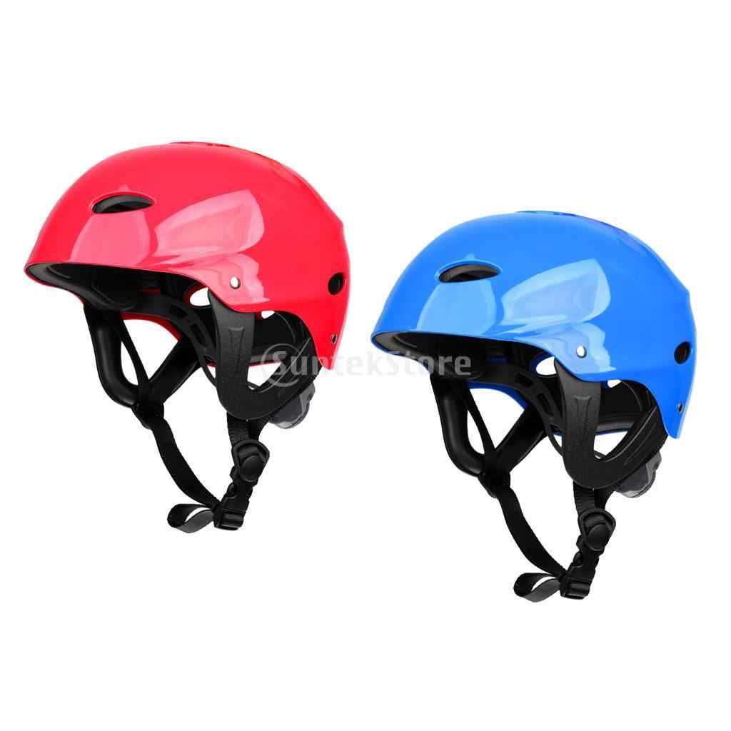 2 Pieces Blue + Red Safety Helmet Hard Hat for Kayaking Surf Paddleboard Water Sports 55-61cm Head Circumference
