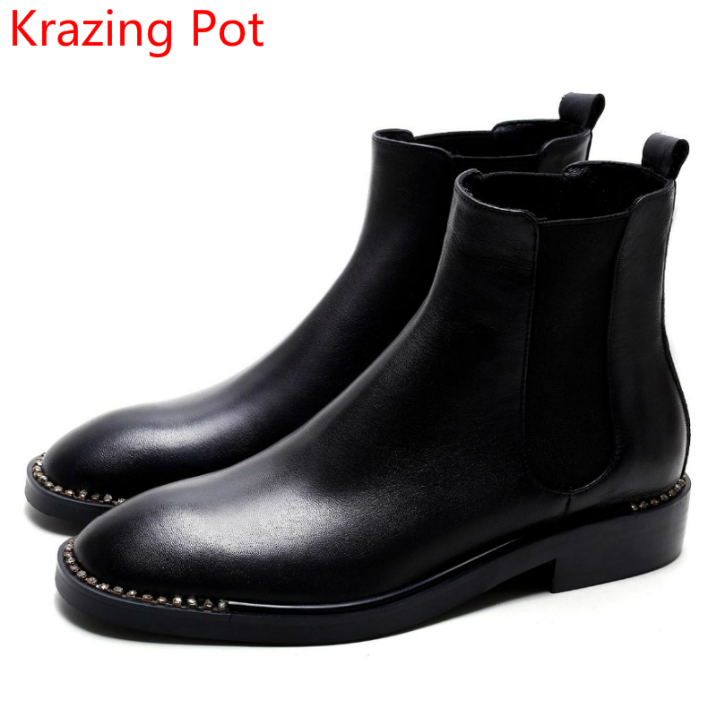 2018 Fashion Genuine Leather Round Toe Crystal Winter Boots Thick Heel Chelsea Boots Runway Slip on Runway Women Ankle Boots L88 nayiduyun women genuine leather wedge high heel pumps platform creepers round toe slip on casual shoes boots wedge sneakers