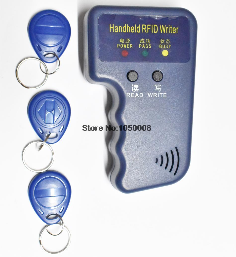 Handheld 125KHz RFID ID Card Reader & Writer/Copier/Duplicator/Programmer + 3pcs EM4305 T5577 Writable Tags Access Control handheld 125khz rfid id card duplicator programmer reader writer copier duplicator 6 pcs cards 6 pcstags kit