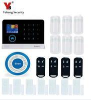 YobangSecurity Teclado Táctil WIFI Sistema Android IOS APP GSM Seguridad Para el Hogar Detector de Humo de Incendios Sensor de PIR Detector de Movimiento de la Puerta Imán