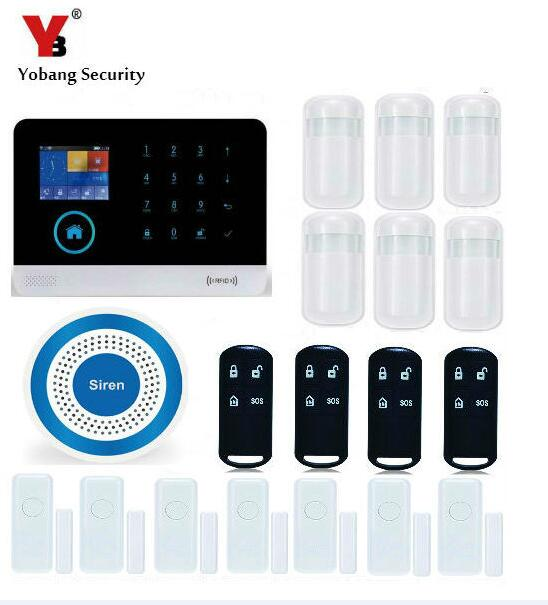 YobangSecurity Touch Keypad WIFI GSM Home Security System Android IOS APP Smoke Fire PIR Motion Detector Magnet Door Sensor yobangsecurity wifi gsm gprs home security alarm system android ios app control door window pir sensor wireless smoke detector