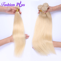 Fashion Plus Brazilian Blonde #613 Straight Hair Brazilian Hair Extensions 12 26 inches 100% Human Hair Weaving Platinum Bundles