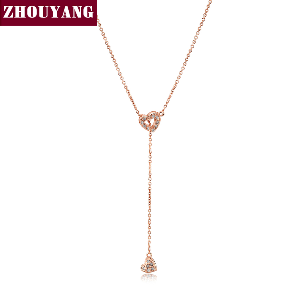 ZHOUYANG Necklace For Women Heart Linked To Heart Rose Gold Color Fashion Pendant Jewelry Made with Austria Crystal ZYN159