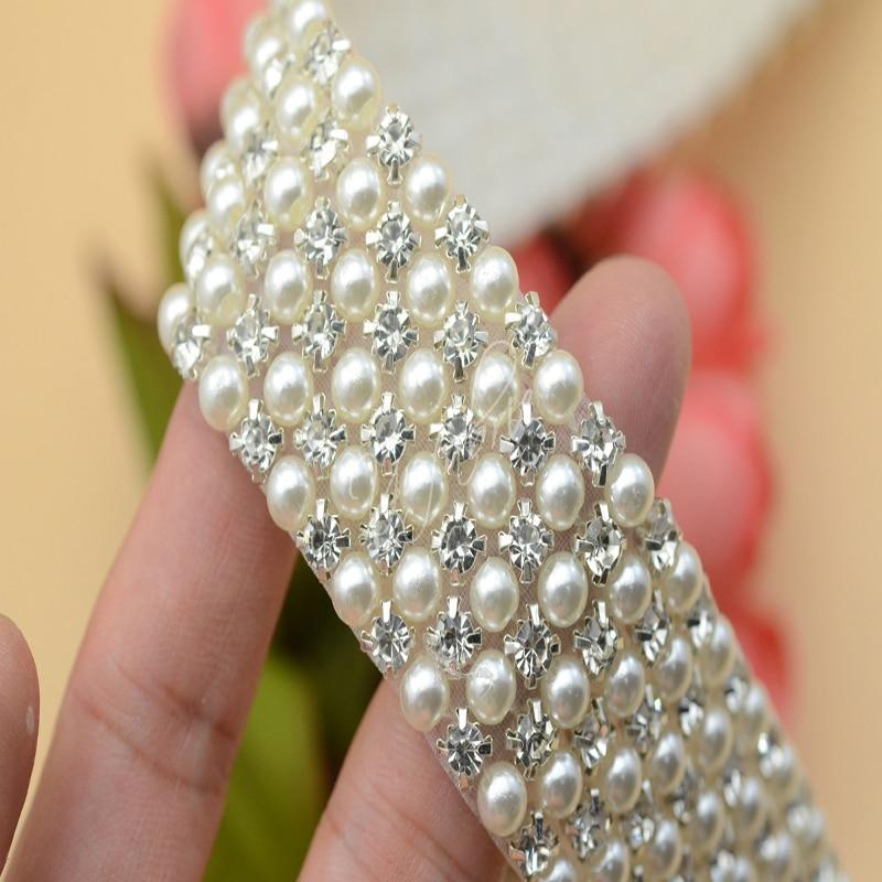 3 row 6row Crystal AB Rhinestone beaded Pearls Trim Applique Iron On Clothes Dress Crafts 1 Yard