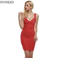 FINEJO בציר נשים שמלה ליידי סקסי עמוק צווארון V שרוולים אלגנטי אדום פולקה דוט Slim המפלגה Bodycon מיני שמלה בתוספת גודל S-XXL