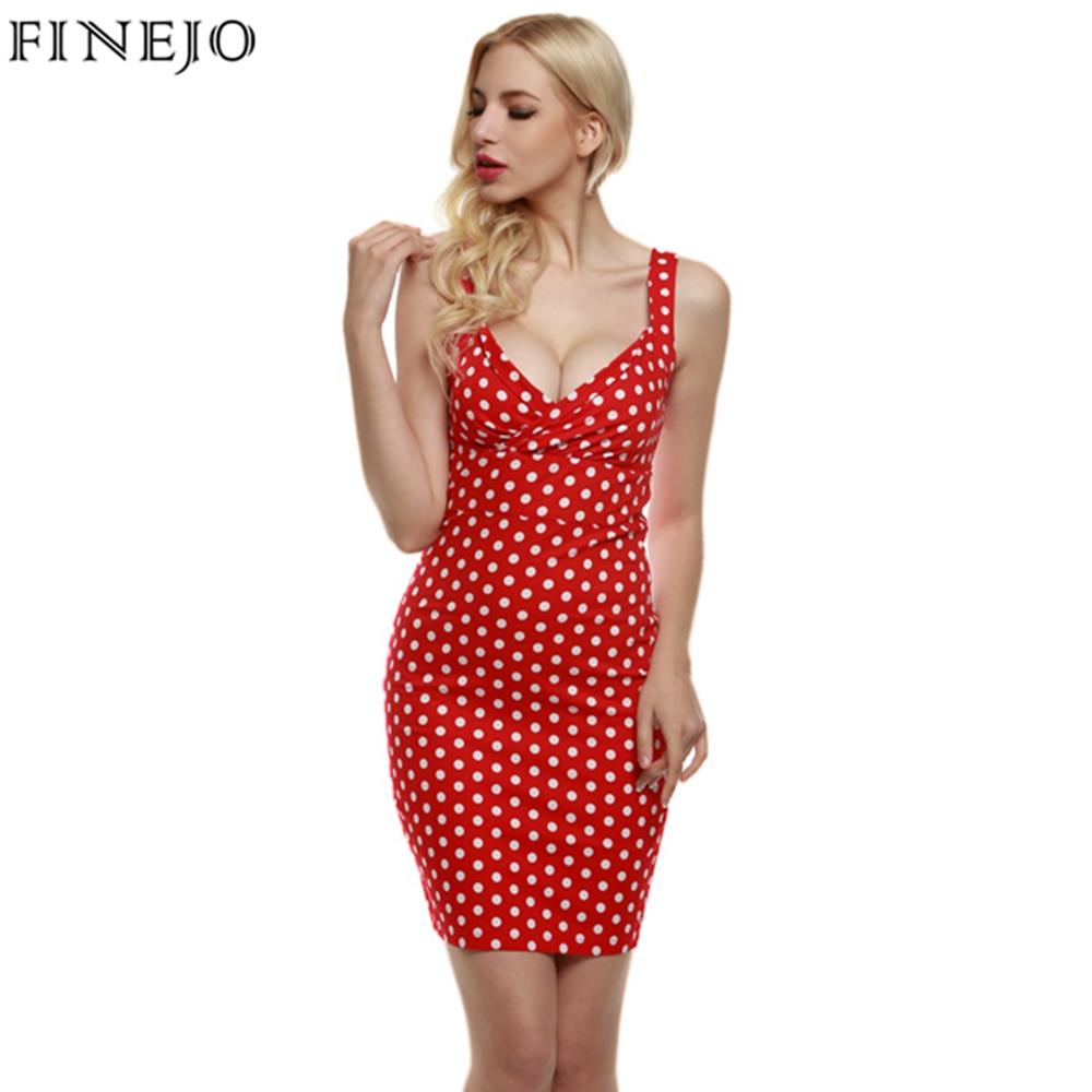 Finejo Vintage Sexy Women Dress Lady Elegant Deep V Neck -1048
